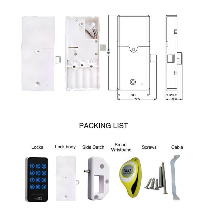 RFID Touch Password Cabinet lock SL C114 size and packing list - Electronic RFID Keyless Touch Keypad File Cabinet Lock SL-C114