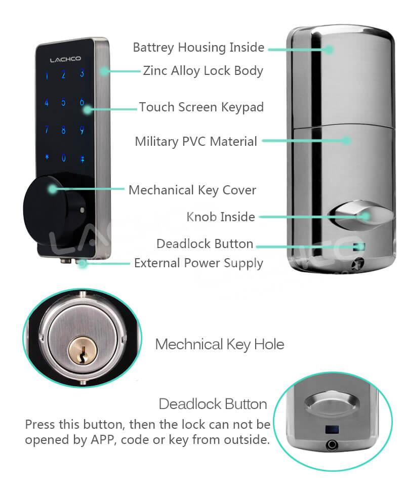 SL HS8055 11 - Fechadura da porta eletrônica inteligente de Bluetooth com trava para apartamentos