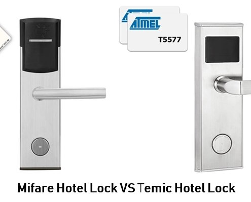 Mifare Hotel Lock VS Temic Hotel Lock 495x399 - Modern Smart RFID Key Cards Lock for Hotel and Cabinet